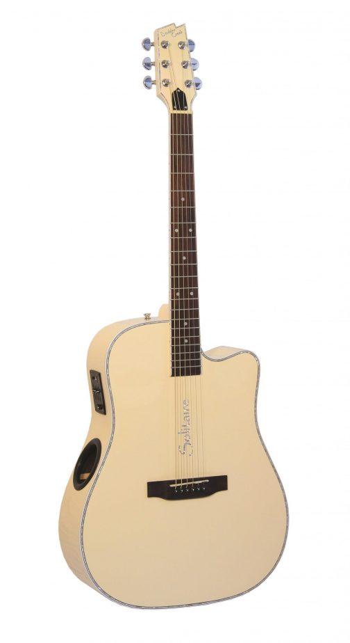 Boulder Creek Guitar, Solitaire Cutaway Butter Cream ECR4-BC